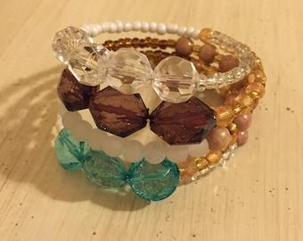 Coil Bracelet, Beaded Coil Bracelet, Memory Wire