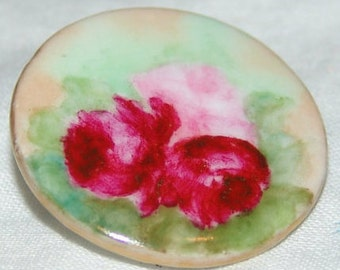 Lovely Antique Hand Painted Porcelain Button ~ Pink and Red Roses ~ Gold Gilt Edge~ Limoges Style ~
