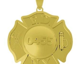 FDNY Maltese Cross Pendant - Firefighter - 10 KT Gold