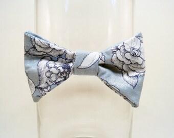 Light Blue Floral Bow Tie