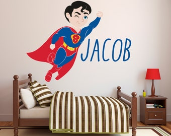 Beau Superman Wall Decal   Personalized Name Wall Decal   Super Boy Wall Art    Superhero Wall