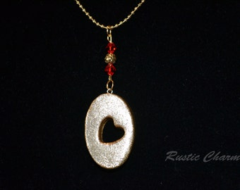 Gold Glitter Heart Pendant Necklace