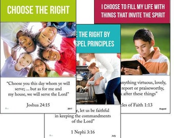 DIGITAL 2017 Primary Theme 13-poster set (DOWNLOAD) LDS - Choose the Right