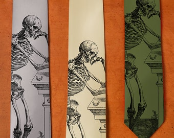 Skeleton Tie - SILK Necktie - Skull Tie - Gift For Men - Men's Neck Tie - Unique Gifts for Him - Skull Gifts