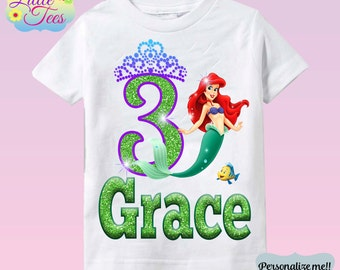 Little Mermaid Birthday Shirt - Ariel Shirt Little Mermaid Shirt/ ariel birthday shirt/ birthday girl shirt/disney princess shirt/ 1