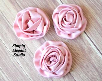 Blush Pink Rolled Satin Flowers, Fabric Flowers, Headband Flowers, DIY Craft Supply Flowers