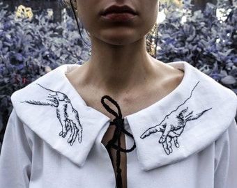 White Peter Pan collar embroidered hands Michelangelo - Dress peter pan collar with embroidered hands Michelangelo