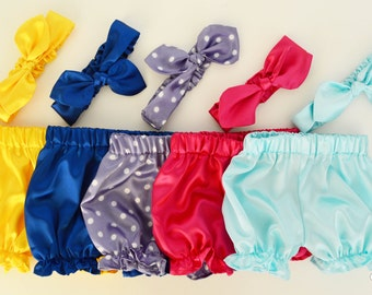 Satin Baby Set~ Yellow Bloomers~ Blue Bloomers~ Purple Bloomers~ Pink Bloomers~ Light Blue Bloomers~ Baby Bloomers and Headband~ Baby Gift