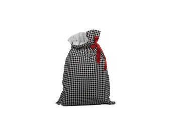 Valentine Checks and Hearts Fully Lined, Drawstring, Cloth Gift Bag