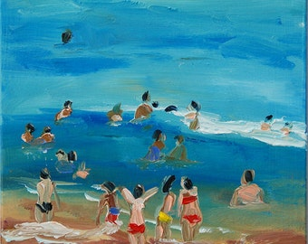 Oil painting of a seaside landscape, red and yellow swimwear, original oil painting