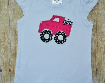 Girls Monster Truck Shirt, Pink and Houndstooth