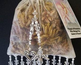 Angel blessings potpourri beaded organza bag