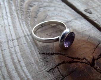 925 sterling silver ring, amethyst silver ring, stone ring for women, natural amethyst ring