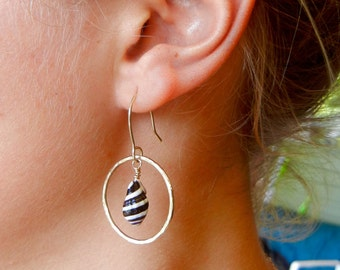 Gold Shell Circle Hoop Earrings