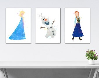Watercolor Disney Princess Set Elsa, Watercolor Set Prints baby girl room, 3 Posters Frozen Princess, Baby girl Nursery, Print for Children