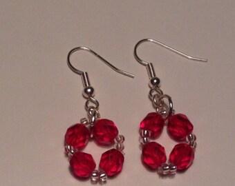 Ruby red bead earrings