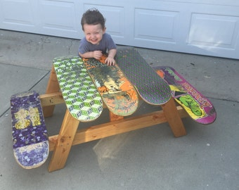 Kids skateboard table, skateboard picnic table, picnic table, custom, kids furniture, gift for skater, outdoor furniture, christmas gift