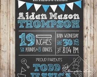 Baby Boy Newborn Announcement Chalkboard Poster | Photo Props | Customized Printable File |