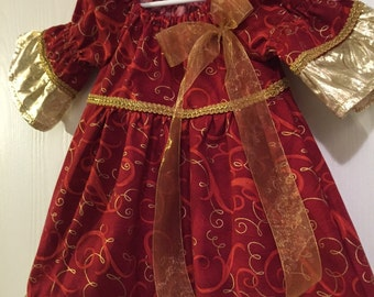 Gold/red Christmas Dress size 2T
