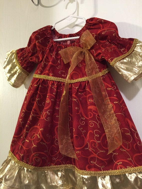 Gold red christmas dress size 2t by girlybabies on etsy