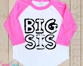 Big Brother Shirt black Raglan 3/4th Sleeve Big Sister Shirt Toddler Youth Shirt