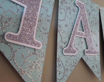 winter onederland birthday banner * frozen birthday banner * elsa birthday banner * blue and silver glitter birthday * pennant banner