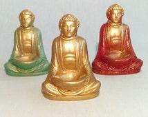 Golden Buddha incense burner.  5 inches tall, felt base.