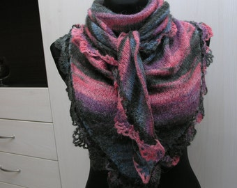Handmade knitted triangle colourful scarf