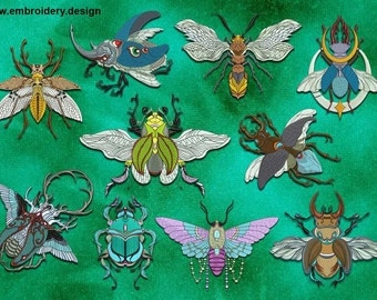 Fairy insects embroidery designs PACK of 10 - downloadable
