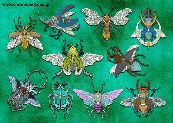 Fairy insects embroidery designs pack of downloadable