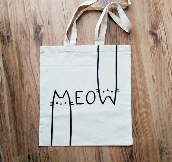 Meow Tote Bag Hand Painted Shopping Bag Grocery Bag