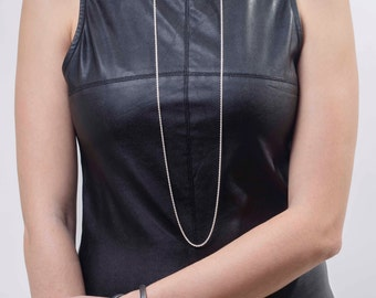 silver chocker with a necklace, long silver necklace, open chocker, open necklace, adjustable necklace, dainty jewelry