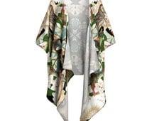 Owl + Moth Kimono Wrap - Draped Blouse, Beach Coverup, Shawl, Fringed Kimono, Kimono, Boho Kimono, Barn Owl, Moth, Floral Kimono