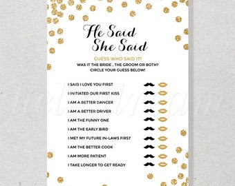 He Said She Said, Bridal Shower Games, Bride or Groom Game, Gold Confetti Wedding Shower- SKUHDG14