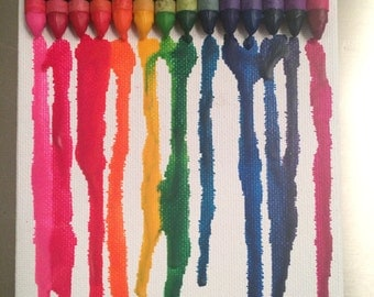 5x7 Melted Rainbow Crayon Canvas