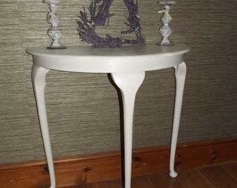SOLD!! Vintage Upcycled Mahogany Solid Side Table in Annie Sloan Old White
