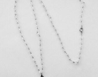 Clear crystal fleur de lys Necklace