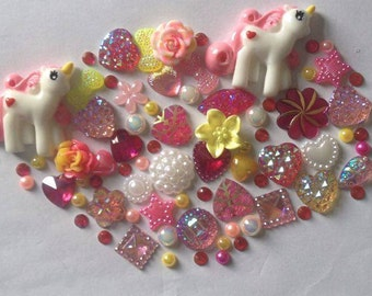 2 unicorns mix crafts flatback resin cabachon  scrap booking card making frames hearts flowers stars gems pearls