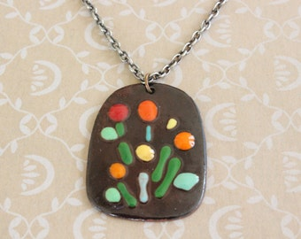 Vintage Hand Painted Enamel and Copper Fall Colors Pendant with Long Silver Tone Chain