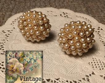 HOBE Earrings, Hobe Cluster gold tone, Hobe pearl clip on earrings, Signed Hobe, Wonderful Vintage Clip Ons, Cluster Pearl Clipons
