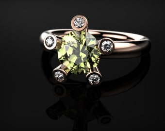 Peridot Rose Gold Engagement Ring Rose Gold Peridot Ring Peridot Engagement Ring Gemstone Ring Peridot Ring Peridot August Birthstone Ring