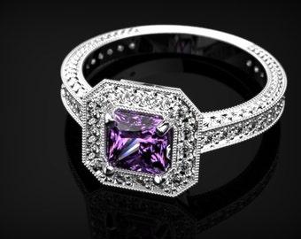 White Gold Amethyst Ring Amethyst White Gold Engagement Ring Gemstone Engagement Ring Amethyst Engagement Ring February Birthstone