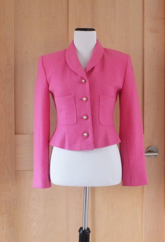 Vintage Neiman Marcus Cropped Jacket Pink Tailored