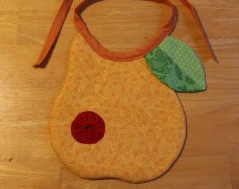 Quilted Pear Baby Bib with YoYo