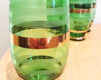 Green and Gilt Bar Glasses