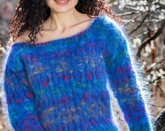 Blue Mohair Sweater, Loose knit Top, Summer Sweater, Boatneck Jumper, size S/M/L Hand Knitted by TanglesCreations