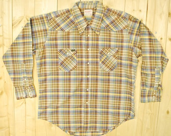 Vintage 1950's/60's WRANGLER Plaid Western Shirt / Cowpunk /Retro Collectable Rare