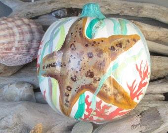 Coastal Pumpkins, Fall decoration, painted pumpkins, Fall decor, Beach house decor, starfish pumpkin, coastal pumpkins, thanksgiving