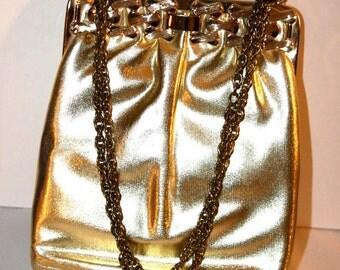 Gold Metallic Evening Purse//By Mardane USA//Gold Evening Purse//Vintage Evening Purse