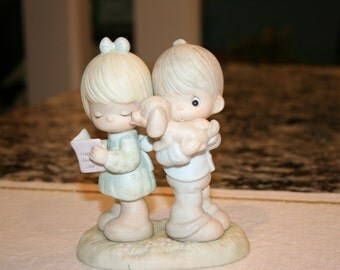1987 Precious Moments//Puppy Love Is From Above//Procelain Bisque Figurine//Vintage Figurine